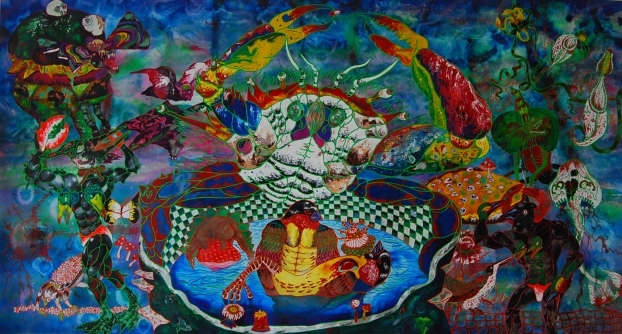 Incredible Fusion Party 2012 Mixed media on paper 66x139cm